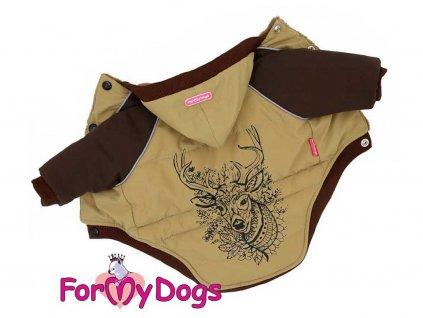 Oblečky pro psy – hnědá bunda pro psy i fenky s jelenem
