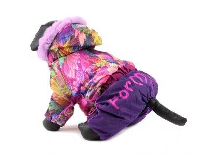 Oblečky pro psy – fialový zimní overal pro fenky