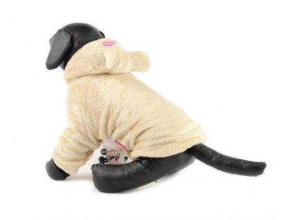 Oblečky pro psy – plyšová mikina pro psy i fenky, béžová s ušima
