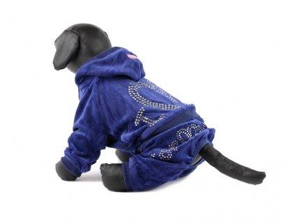 Oblečky pro psy – modrý velurový overal pro psy i fenky