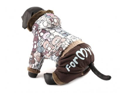 Obleček pro psy – Hnědý zimní overal pro psy s medvídky