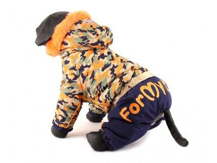 Obleček pro psy – teplý zimní overal, vzor oranžový maskáč