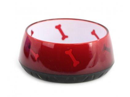 Luxusní miska pro psy z pevného odolného plastu k nerozeznání od skla. Miska je vhodná na vodu i krmivo, je velmi stabilní, objem 900 ml, barva červená.