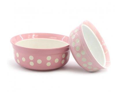 Růžová keramická miska pro psy a kočky vhodná na vodu i krmivo. Výběr velikostí pro všechna plemena, misku lze mýt v myčce.