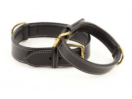Luxusní obojek pro střední a velké psy BOBBY HAUTE FINITION z pevné černé kůže se zlatou přezkou