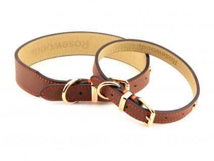 Stylový obojek pro psy ROSEWOOD Luxury Leather Brown z hnědé kůže