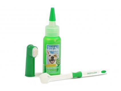 Oral Kit Small – sada na čištění zubů psů kartáčkem, která obsahuje gel na čištění zubů, kartáček na prst a kartáček s trojitou hlavou.
