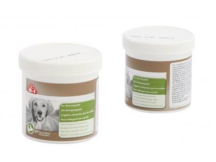 Čistící polštářky na uši pro psy – jemně odstraňují maz a nečistoty, vhodné pro pravidelné používání. Balení 90 ks.