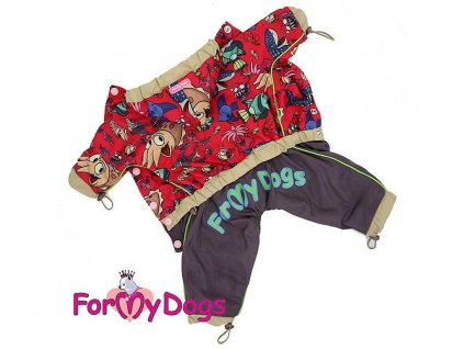 Obleček pro fenky malých až středních plemen – pláštěnka For My Dogs. Zapínání na druky na břiše, hladká podšívka, barva červená s veselým potiskem