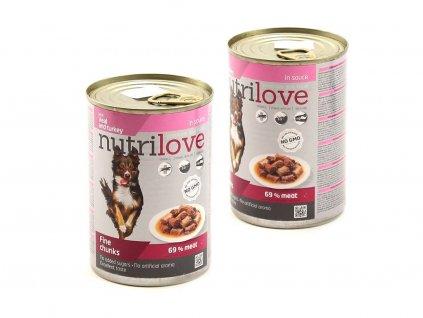 Nutrilove krmivo pro psy – jemné kousky s telecím a krůtím (2)