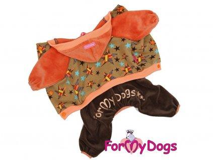 Obleček pro psy a fenky FMD, oranžovohnědý s hvězdami