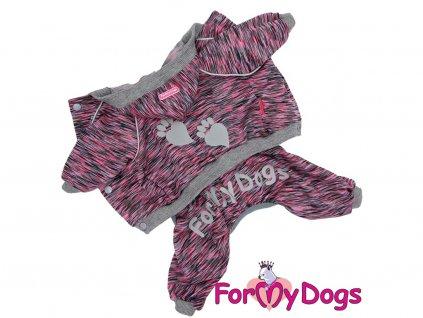 Obleček pro psy i fenky – lehký overal od For My Dogs zdobený reflexními prvky. Zapínání na druky na bříšku, pružné lemy