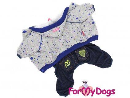 Obleček pro psy i fenky – teplejší overal od For My Dogs s barevným potiskem. Zapínání na druky na bříšku, pružné lemy