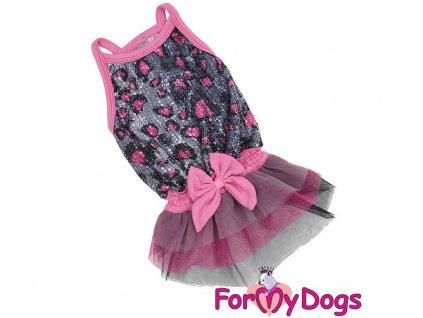 Obleček pro fenky – stylové šaty od For My Dogs. Šaty s úzkými ramínky jsou zdobené flitry a růžovou mašlí