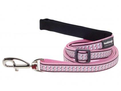 Reflexní vodítko pro psa, růžové