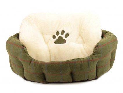 Zelený tvídový pelíšek pro psy od ROSEWOOD, vyjímatelný polštář.