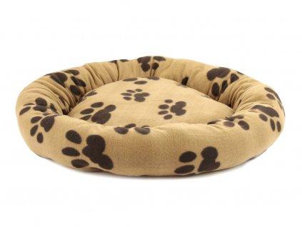 Mělký kulatý pelíšek pro psy od ROSEWOOD. Měkký plyšový materiál, barva hnědá s tmavě hnědými tlapičkami.