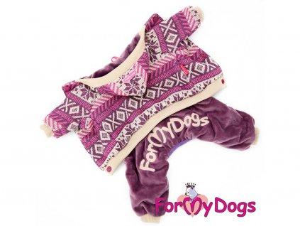 Obleček pro psy i fenky – fialový overal z měkoučké pleteniny
