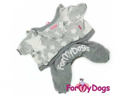 Obleček pro psy i fenky – světle šedý overal s hvězdami