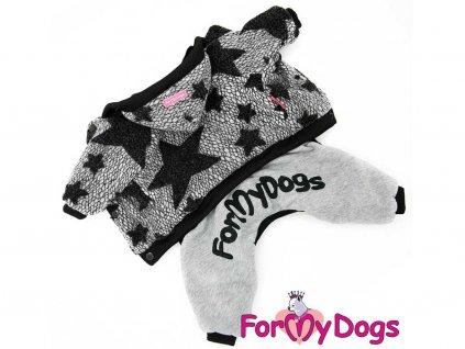 Obleček pro psy i fenky – šedý overal s hvězdami