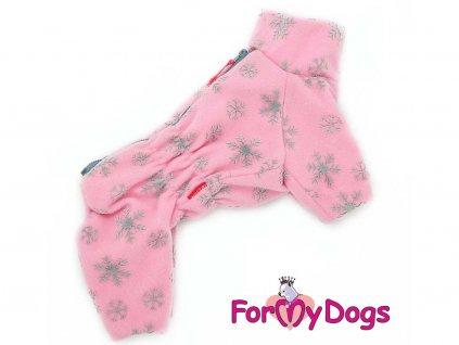 Obleček pro fenky – plyšový zimní overal od FMD, růžový s vločkami