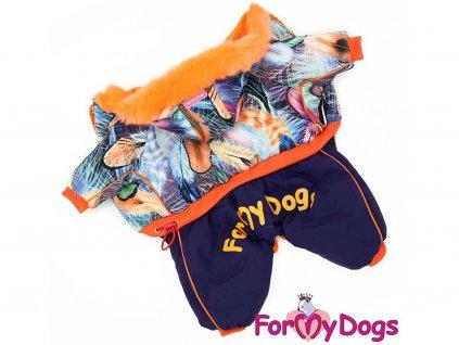 Teplý zimní overal pro psy s barevným potiskem