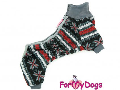 Šedý overal pro psy z měkké pleteniny