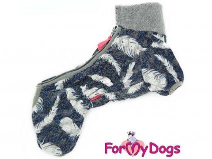 Obleček pro psy – modrošedý overal od FMD z měkké pleteniny
