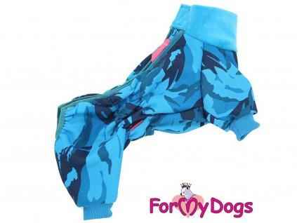 Obleček pro psy – modrý overal z měkké pleteniny