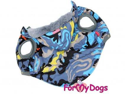 Modrá zimní bunda pro větší psy i fenky s CAMO potiskem