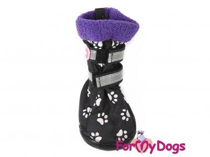 Boty pro psy od For My Dogs – černé s fialovým flísovým lemem