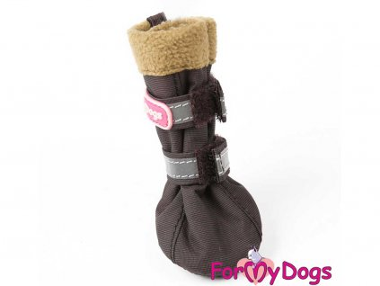 Boty pro psy od For My Dogs – hnědé se světle hnědým flísovým lemem