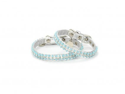 Obojek pro psy od For My Dogs, stříbrný s perlami a kamínky