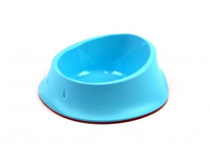 Modrá plastová miska na vodu i krmivo