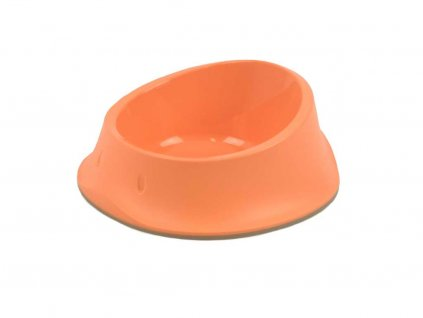 Tvarovaná plastová miska na vodu i krmivo – lososová barva