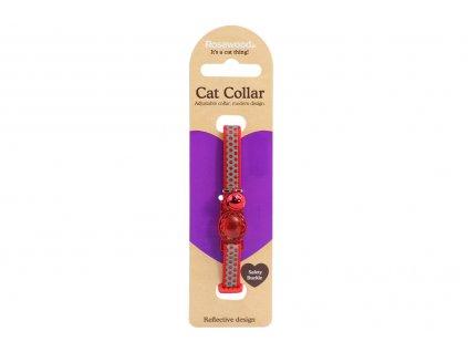 Stylový obojek pro kočky ROSEWOOD – červenošedý s puntíky a rolničkou. Reflexní prvky, bezpečnostní plastová spona, univerzální velikost.