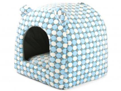 Pelíšek-bouda pro psy Polka Dot BLUE