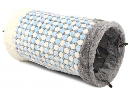 Plyšový tunel pro kočky, šedo-modro-bílý