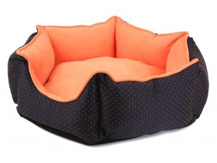 Pelíšek pro psy šestiboký, oranžovo-černý, pohled z boku