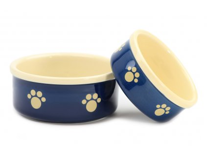 Stylová keramická miska pro psy Blue Beige Paw vhodná na vodu i krmivo. Možnost mytí v myčce, výběr velikostí.