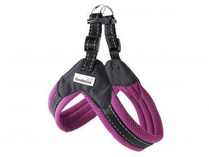 Postroj pro psy – fialový hrudní postroj Doodlebone Airmesh Boomerang Purple