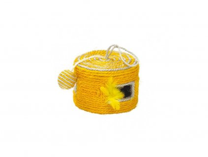 Jednoduchá škrábací hračka pro kočky s otvory a zavěšenými chrastícími hračkami