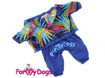 Oblečky pro psy – lehoučká pláštěnka pro psy malých plemen, modrá s barevným potiskem