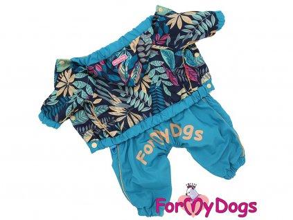 Oblečky pro psy i fenky – pláštěnka, světle modrá s barevným potiskem