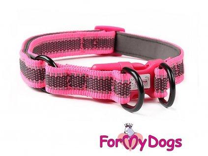 Obojky pro psy – růžový obojek z kolekce ForMyDogs RETROREFLECTIVE FUCHSIA