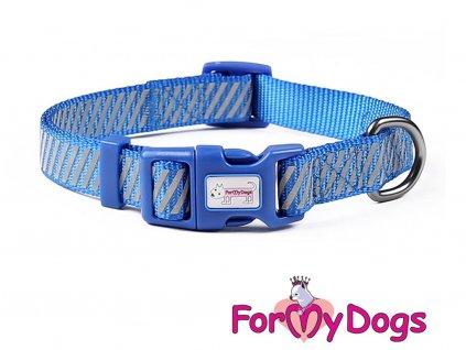 Obojky pro psy – modrý obojek z kolekce ForMyDogs BLUE REFLECTIVE STRIPES