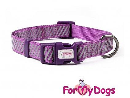 Obojky pro psy –  fialový obojek z kolekce ForMyDogs PURPLE REFLECTIVE STRIPES