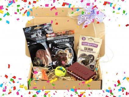 Dárkový balíček pro psy s pamlsky, míčkem a pískací hračkou – biscuitem