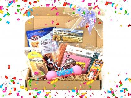 Dárkový balíček pro psy s pamlsky a gumovou pískací hračkou