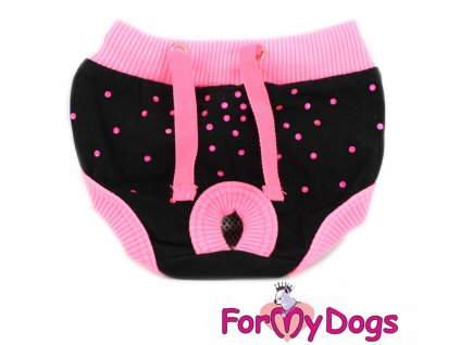 Bavlněné hárací kalhotky pro fenky od For My Dogs – BLACK/PINK